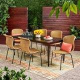 Outdoor Boho Wicker 6 Seater Dining Set - NH896113
