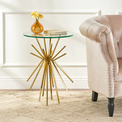 Modern Glam Sunburst Accent Table with Tempered Glass Top - NH530113