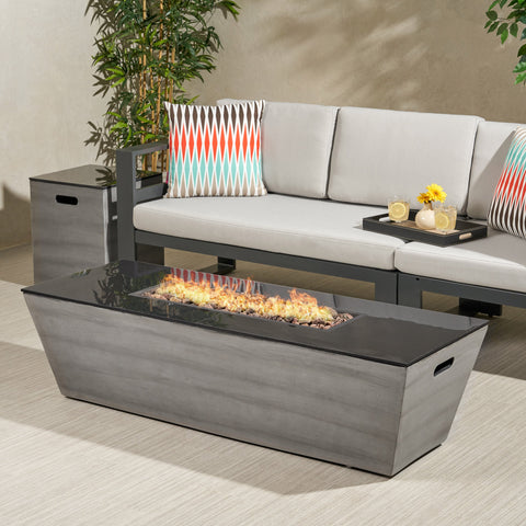 Outdoor 56-Inch Rectangular Fire Pit with Tank Holder - NH064113