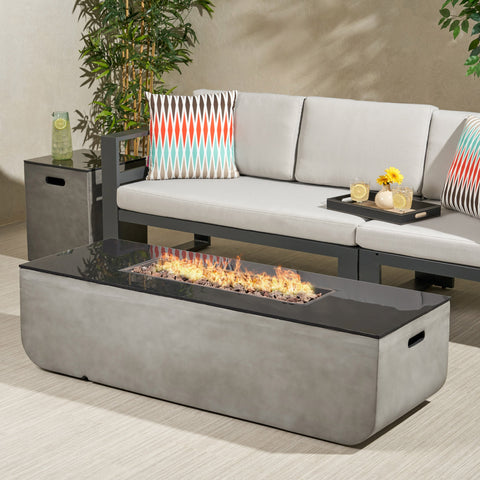 Outdoor 56-Inch Rectangular Fire Pit with Tank Holder - NH464113