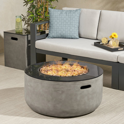 Outdoor Modern 31-Inch Circular Fire Pit with Tank Holder - NH664113