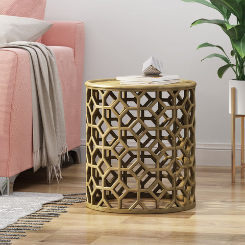 Modern Glam Aluminum Accent Table - NH350113