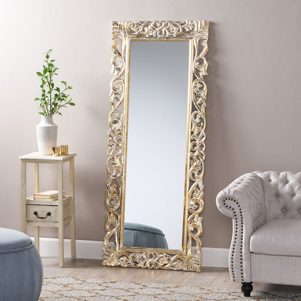 Traditional Standing Mirror with Floral Carved Frame - NH455113