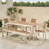 Outdoor Modern Aluminum 6 Seater Dining Set with Dining Bench - NH559013