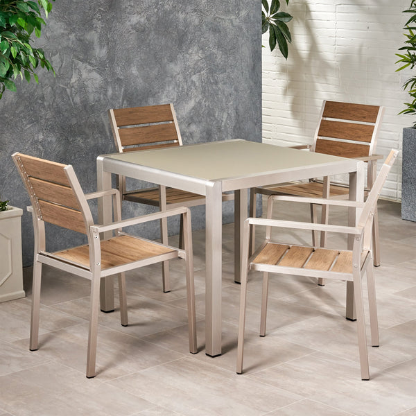 Outdoor Modern Aluminum 4 Seater Dining Set with Faux Wood Seats - NH169013