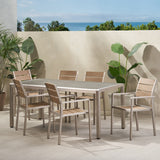 Outdoor Modern Aluminum 6 Seater Dining Set with Faux Wood Seats - NH959013