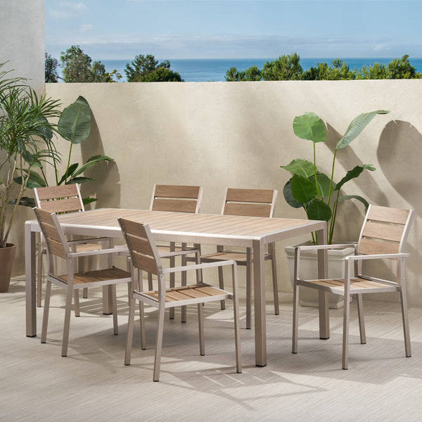 Outdoor Modern Aluminum and Faux Wood 6 Seater Dining Set - NH949013