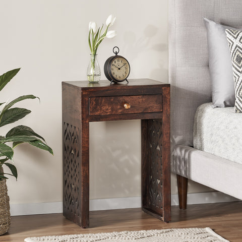 Traditional Mango Wood Bedside Table - NH237113