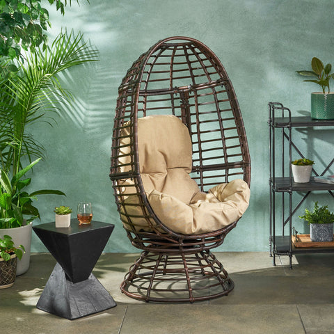 Outdoor Wicker Swivel Egg Chair with Cushion - NH844113