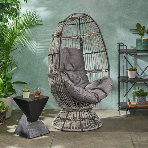 Outdoor Wicker Swivel Egg Chair with Cushion - NH944113