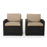Outdoor Faux Wicker Club Chairs with Cushions (Set of 2) - NH263313