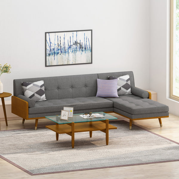 Mid-Century Modern Fabric Chaise Sectional - NH553213
