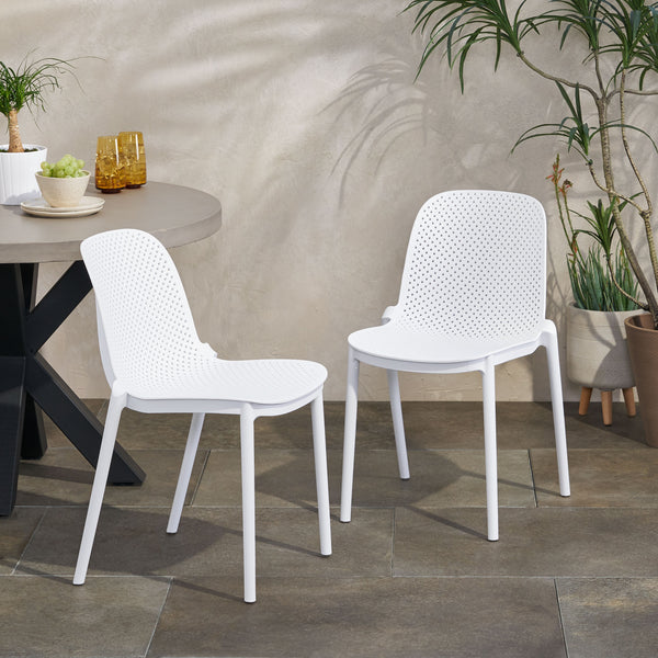 Outdoor Modern Stacking Dining Chair (Set of 2) - NH342213