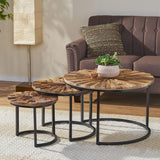 Modern Industrial Wooden Set of Nested Tables - NH517213