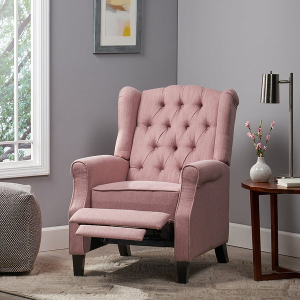 Contemporary Tufted Fabric Push Back Recliner - NH548113