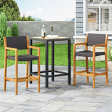 Outdoor Acacia Wood Barstools with Wicker (Set of 2) - NH138213
