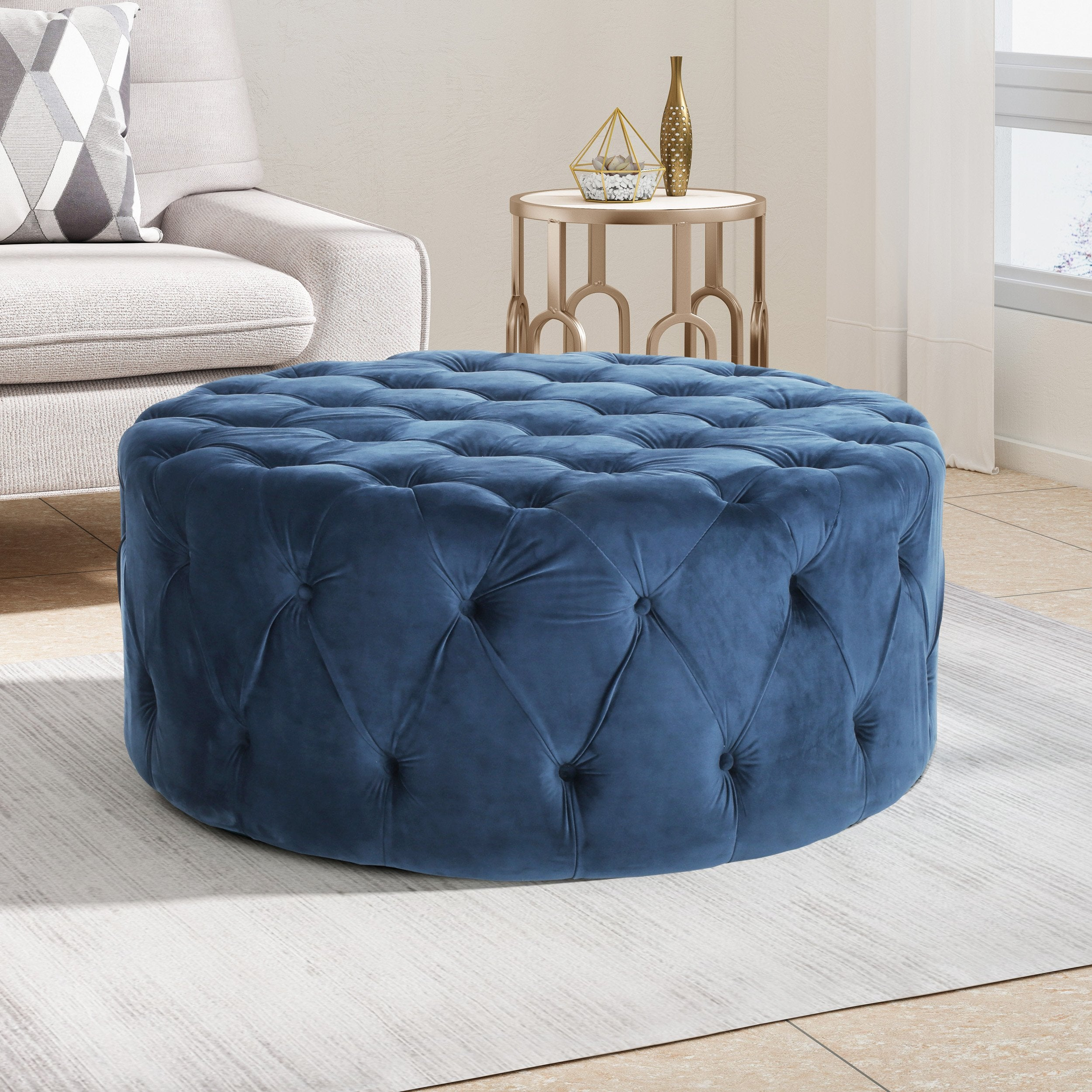 Modern Glam Round Tufted Velvet Ottoman Coffee Table Nh552213 Noble House Furniture