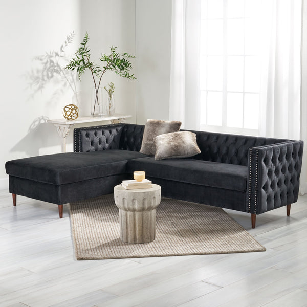 Contemporary Tufted Velvet Sectional Sofa with Storage Chaise Lounge - NH028213