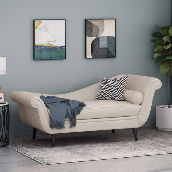 Contemporary Chaise Lounge with Scroll Arms - NH789213