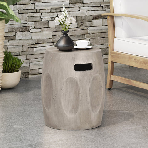 Outdoor Contemporary Lightweight Concrete Accent Side Table - NH267213