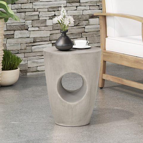 Outdoor Contemporary Lightweight Concrete Accent Side Table - NH767213