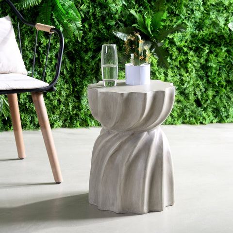 Outdoor Contemporary Lightweight Concrete Accent Side Table - NH867213