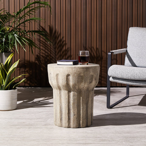 Outdoor Contemporary Lightweight Concrete Accent Side Table - NH377213