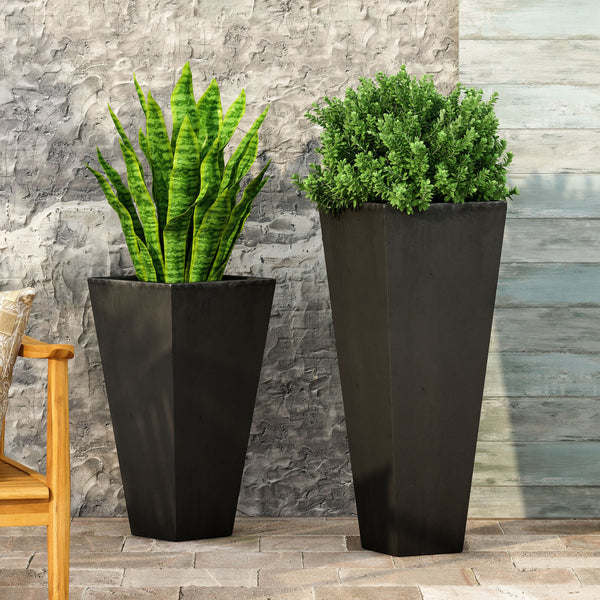 Outdoor Modern Large and Small Cast Stone Planter Set - NH749213