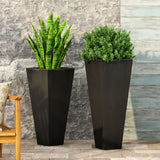 Outdoor Modern Large and Medium Cast Stone Planter Set - NH549213