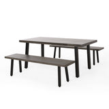 Outdoor Modern Industrial 3 Piece Aluminum Dining Set with Benches - NH150313