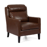 Contemporary Pillow Tufted Faux Leather Club Chair - NH891313
