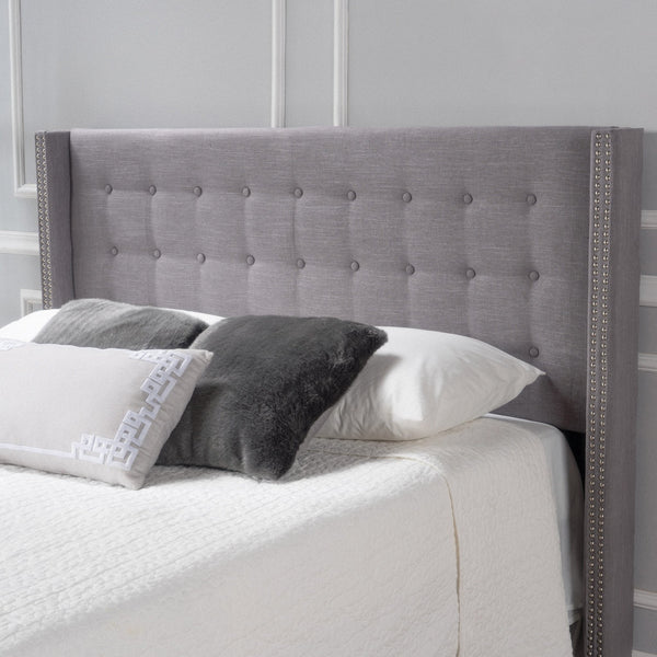 Button Tufted Fabric King/Cal King Headboard with Nailhead Accents - NH026992