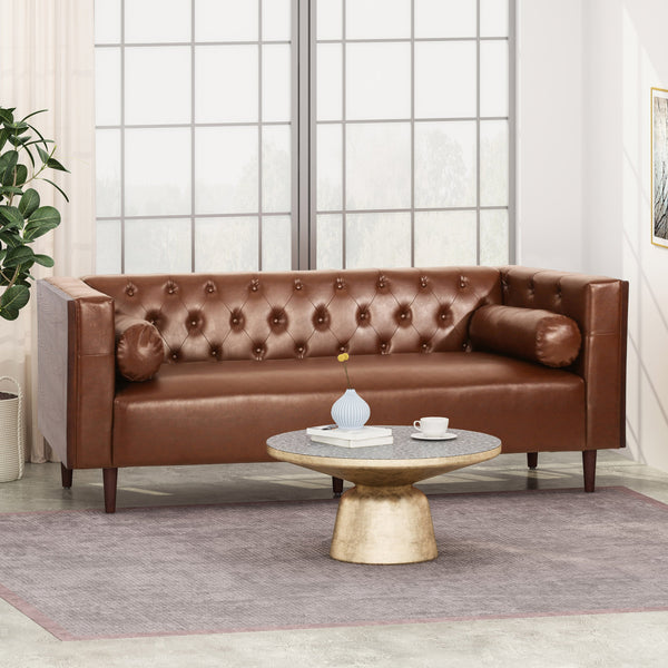 Contemporary Tufted Deep Seated Sofa with Accent Pillows - NH253313