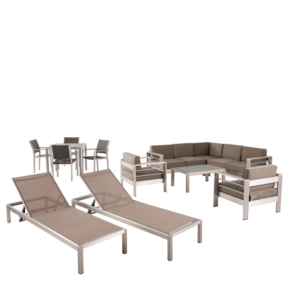 Outdoor Estate Collection Patio Set with Tempered Glass Top Dining Table - NH910703