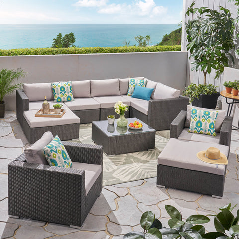Outdoor 7 Seater Wicker Sectional Sofa with Aluminum Frame - NH807503