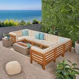 Outdoor U-Shaped Sectional Sofa Set with Fire Pit - NH790703