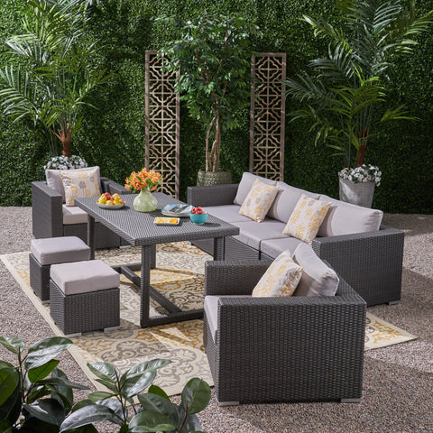 Outdoor 7 Seater Wicker and Aluminum Sofa Dining Set - NH695503