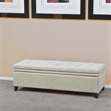 Tufted Linen Storage Ottoman Bench - NH959232