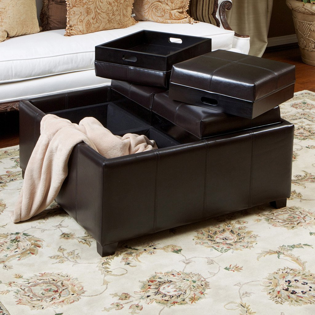 Espresso Leather Tray Top Storage Ottoman Coffee Table Nh515022 Noble House Furniture
