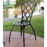 Traditional Outdoor Copper Cast Aluminum Bistro Set with Umbrella Hole - NH397432