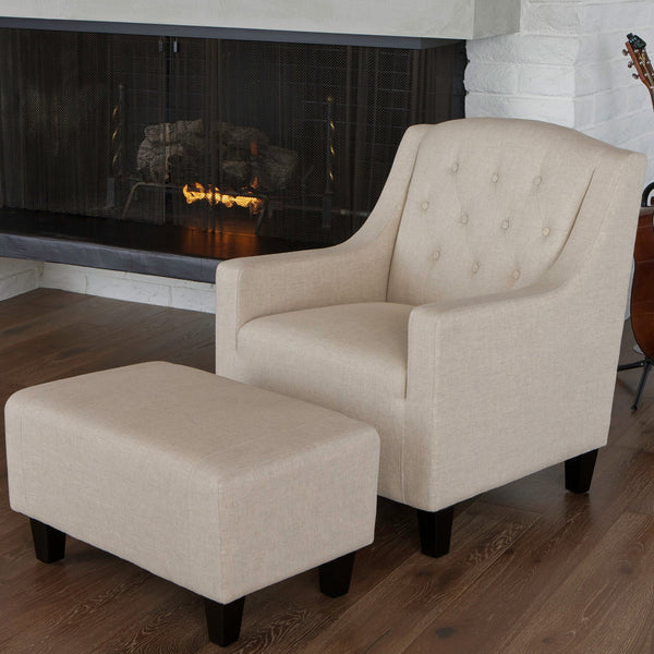Beige Fabric Club Chair and Ottoman - NH327712