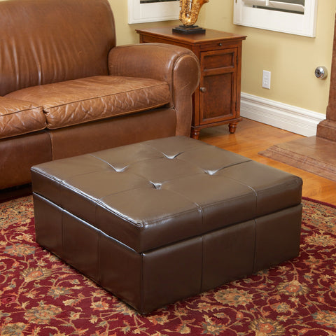 Brown Leather Storage Ottoman - NH410632