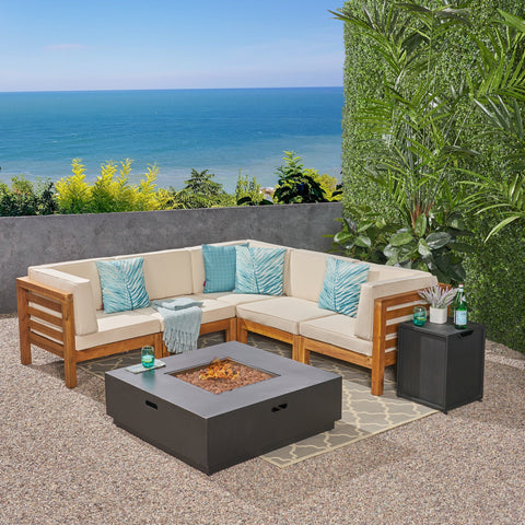 Outdoor 7 Piece V-Shaped Acacia Wood Sectional Sofa Set with Fire Pit and Outdoor Cushions - NH670703