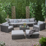 Outdoor 6 Seater Wicker Modular Sectional Sofa Set with Sunbrella Cushions - NH805803