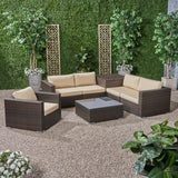 Outdoor 5 Seater Wicker Sectional Sofa Set with Storage Ottoman and Sunbrella Cushions - NH205803