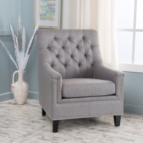 Contemporary Button Tufted Fabric Club Chair with Nailhead Trim - NH240003