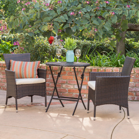 Outdoor 3 Pc brown Wicker Bistro Set w/Beige Water Resistant Cushion - NH472003