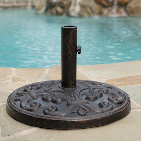 Outdoor Bronze Resin and Black Steel Unbrella Base - NH183003