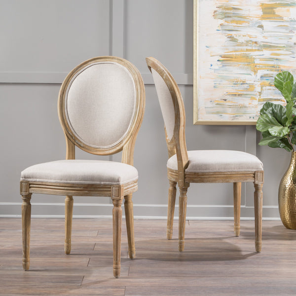 French Country Upholstered Weathered Wood Dining Chair Set Of 2 Nh Noble House Furniture
