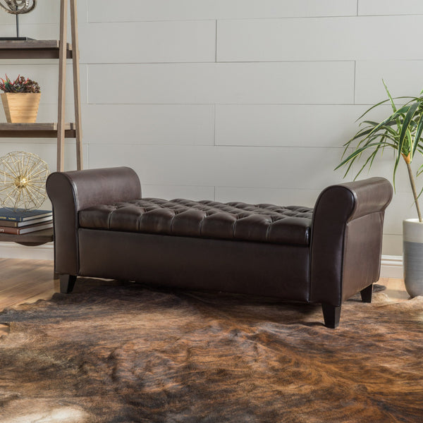 Rolled Arm Tufted Leather Storage Ottoman Bench - NH083992